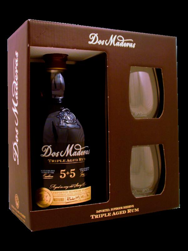 Dos Maderas 5+5 års rom 40% 70cl - Gaveæske med 2 glas
